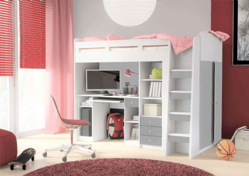 Junior Combo Mid Sleeper with Computer Desk, Side Wardrobe, Book Shelf and 3 Drawers - 2550